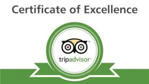 Certificate of excellence on TripAdvisor