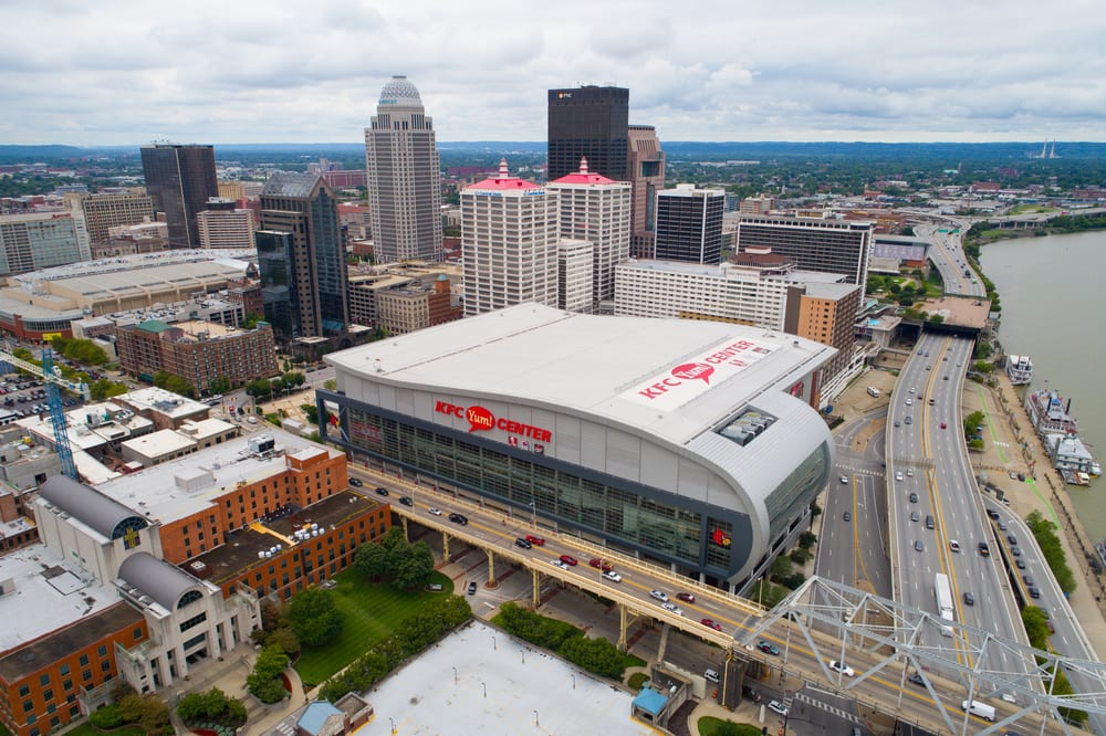 Aerial image of the KFC sports center Downtown Louisville KY, USA